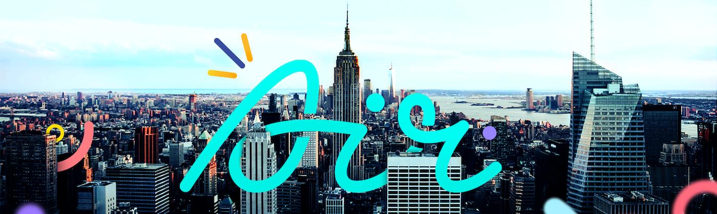 Air logo looping through New York skyline